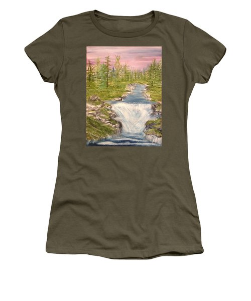 River With Falls Women's T-Shirt (Athletic Fit)