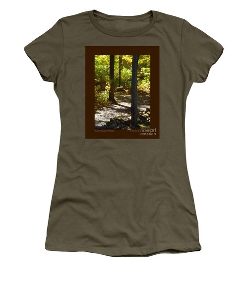 Women's T-Shirt (Junior Cut) featuring the photograph Road Through The Woods by Patricia Overmoyer