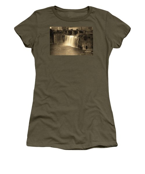 Women's T-Shirt (Junior Cut) featuring the photograph Rochester, New York - High Falls Sepia by Frank Romeo