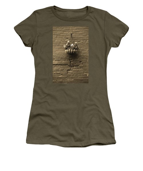 Women's T-Shirt (Junior Cut) featuring the photograph Rochester, New York - Wall And Flowers Sepia by Frank Romeo