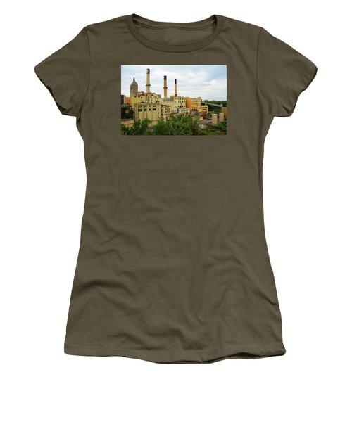 Rochester, Ny - Factory And Smokestacks 2005 Women's T-Shirt (Junior Cut) by Frank Romeo