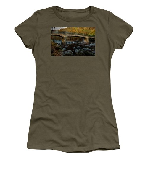 Women's T-Shirt (Athletic Fit) featuring the photograph Rock Creek Park Bridge by Ed Clark