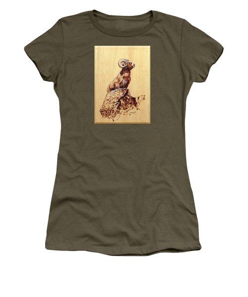 Women's T-Shirt (Junior Cut) featuring the pyrography Rocky Mountain Bighorn Sheep by Ron Haist