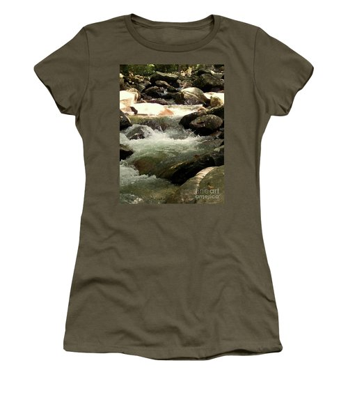 Women's T-Shirt (Junior Cut) featuring the mixed media Rocky Stream 4 by Desiree Paquette