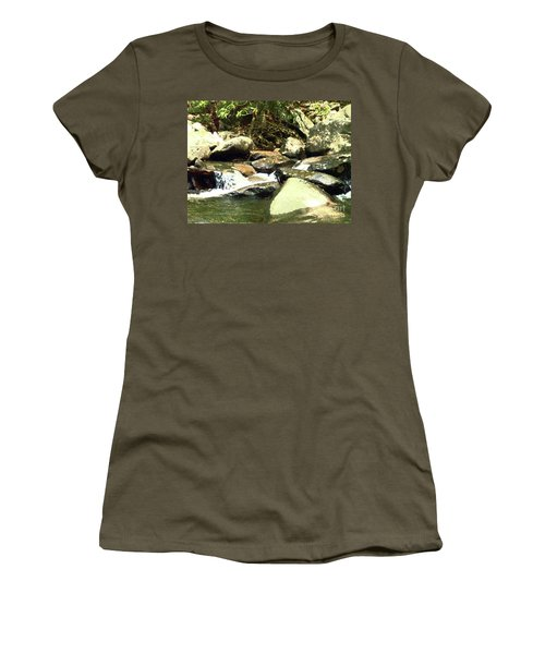 Women's T-Shirt (Junior Cut) featuring the mixed media Rocky Stream 5 by Desiree Paquette