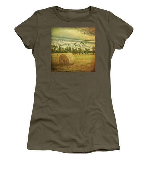 Women's T-Shirt (Athletic Fit) featuring the photograph Rollin' Hay by Lewis Mann