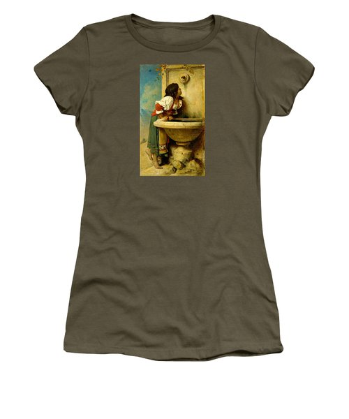 Women's T-Shirt featuring the painting Roman Girl At A Fountain by Leon Bonnat