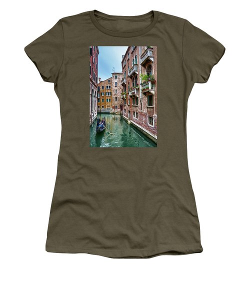 Gondola Ride Surrounded By Vintage Buildings In Venice, Italy Women's T-Shirt