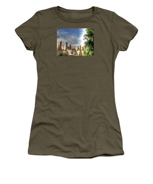 Women's T-Shirt (Junior Cut) featuring the photograph rooftops Hogsmeade by Tom Prendergast
