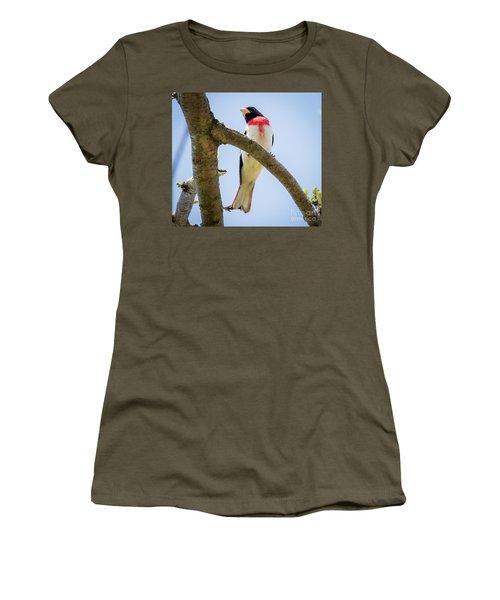 Women's T-Shirt (Athletic Fit) featuring the photograph Rose-breasted Grosbeak Looking At You by Ricky L Jones