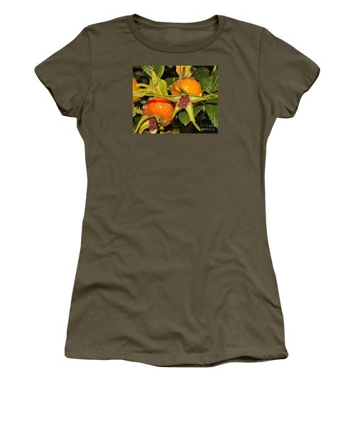 Women's T-Shirt (Junior Cut) featuring the photograph Rose Hips by Debbie Stahre