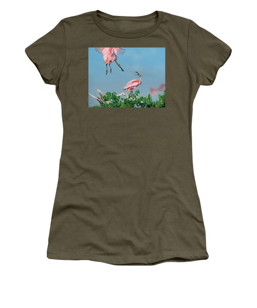 Roseate Spoonbills Women's T-Shirt (Junior Cut) by Tim Fitzharris