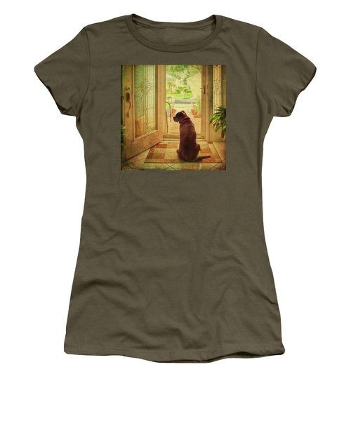 Women's T-Shirt (Athletic Fit) featuring the photograph Rosebud At The Door by Lewis Mann