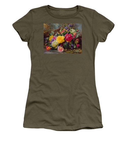 Roses By A Pond On A Grassy Bank  Women's T-Shirt