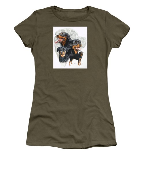 Rottweiler W/ghost  Women's T-Shirt (Athletic Fit)