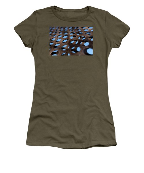 Rough Metal Abstract With Blue Holes In Green Bay Wisconsin Women's T-Shirt