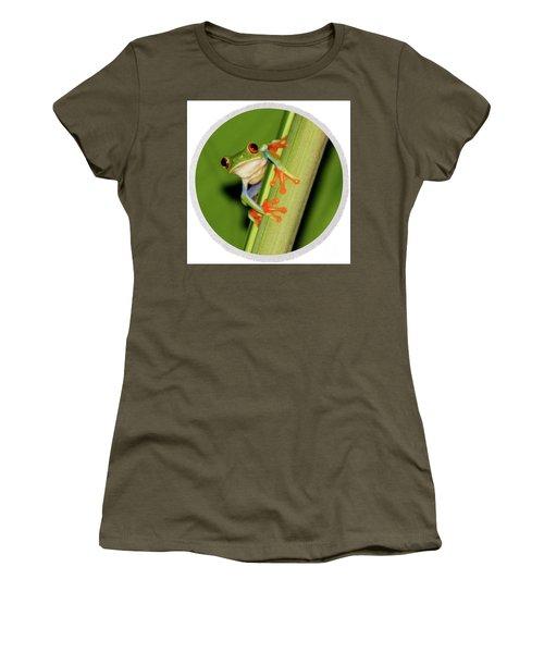 Women's T-Shirt (Junior Cut) featuring the photograph Round Towel Frog by Myrna Bradshaw