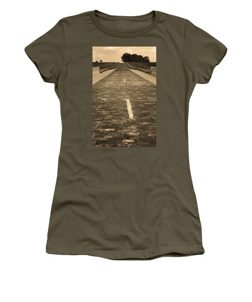 Women's T-Shirt (Junior Cut) featuring the photograph Route 66 - Brick Highway 2 Sepia by Frank Romeo