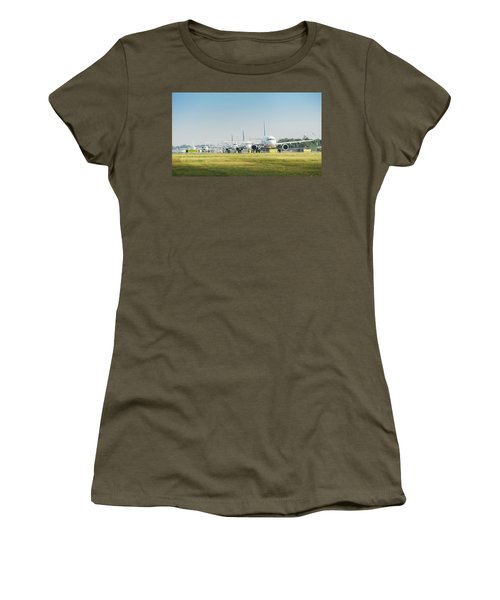 Row Of Airplanes Ready To Take-off Women's T-Shirt