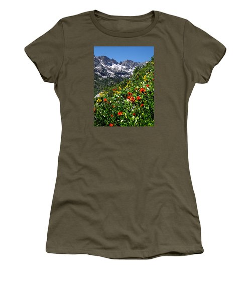 Ruby Mountain Wildflowers - Vertical Women's T-Shirt (Junior Cut) by Alan Socolik