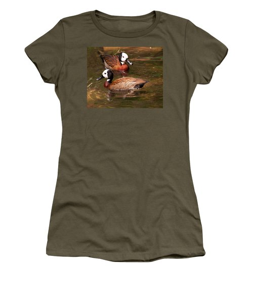 Women's T-Shirt (Junior Cut) featuring the digital art White-faced Whistling Duck by Chris Flees
