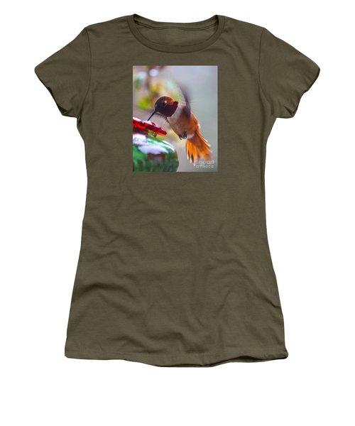 Rufus Hummingbird At The Feeder Women's T-Shirt (Junior Cut) by Chuck Flewelling