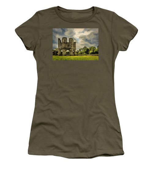 Women's T-Shirt (Junior Cut) featuring the painting Ruins Of Mellifont Abbey by Jeff Kolker