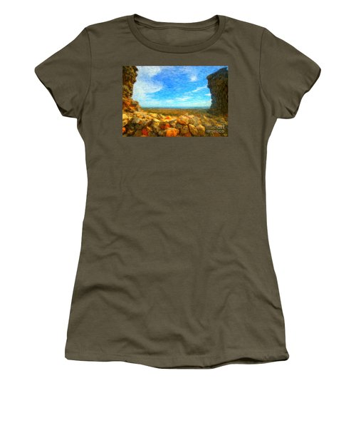 Ruins View Of Mediterranean Women's T-Shirt (Junior Cut) by Gerhardt Isringhaus