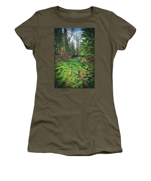 Running Creek In Woods - Spring At Retzer Nature Center Women's T-Shirt (Junior Cut) by Jennifer Rondinelli Reilly - Fine Art Photography