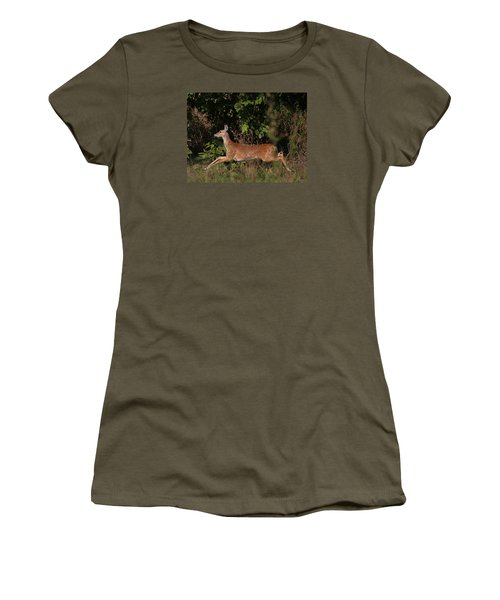 Women's T-Shirt featuring the photograph Running Deer by Dart and Suze Humeston