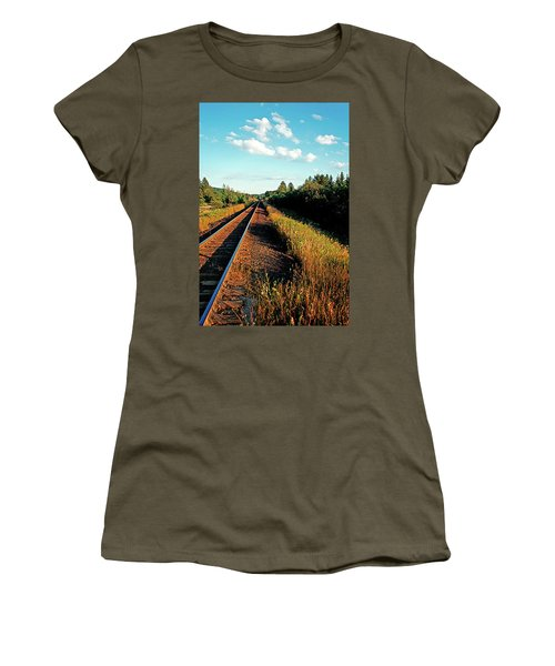 Rural Country Side Train Tracks Women's T-Shirt (Athletic Fit)