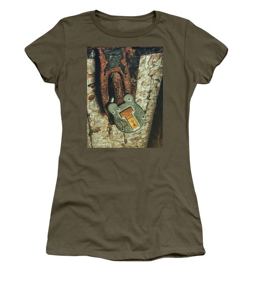 Women's T-Shirt featuring the photograph Rusted Security by Andrea Platt
