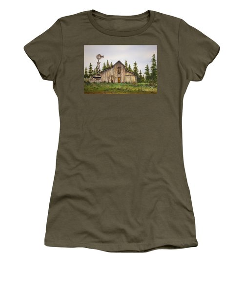 Women's T-Shirt (Junior Cut) featuring the painting Rustic Barn by James Williamson