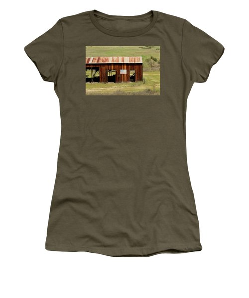 Women's T-Shirt (Junior Cut) featuring the photograph Rustic Barn With Flag by Art Block Collections