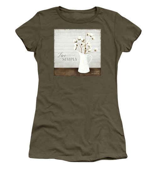 Rustic Farmhouse Cotton Boll Milk Pitcher Live Simply Women's T-Shirt