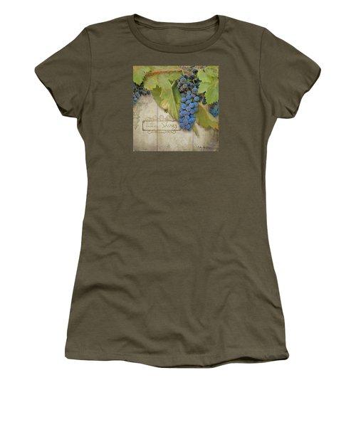 Rustic Vineyard - Shiraz Wine Grapes Over Stone Women's T-Shirt