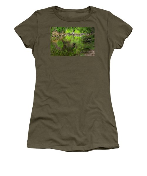 Women's T-Shirt (Athletic Fit) featuring the photograph Sabino Reflection Op53 by Mark Myhaver