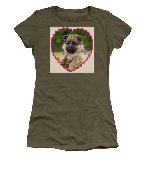 Women's T-Shirt (Junior Cut) featuring the photograph Sable Puppy In Heart by Sandy Keeton