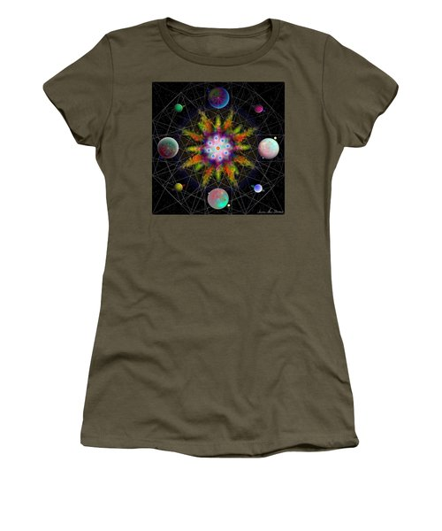 Women's T-Shirt (Athletic Fit) featuring the digital art Sacred Planetary Geometry - Dark Red Atom by Iowan Stone-Flowers