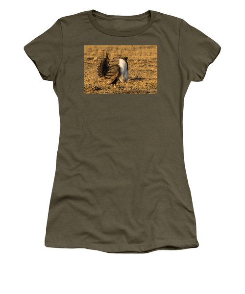 Sage Grouse Mating Display Women's T-Shirt (Junior Cut) by Yeates Photography