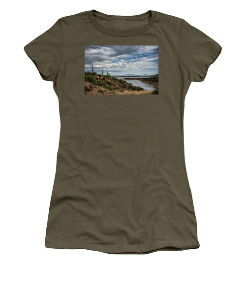 Women's T-Shirt (Athletic Fit) featuring the photograph Saguaro With A Lake View  by Saija Lehtonen