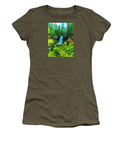Koosa Falls, Oregon Women's T-Shirt (Junior Cut) by Nancy Marie Ricketts