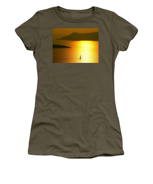 Women's T-Shirt (Junior Cut) featuring the photograph Sailing On Gold 1 by Ana Maria Edulescu