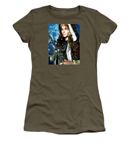 Women's T-Shirt (Junior Cut) featuring the painting Saint Dymphna 5 by Suzanne Silvir