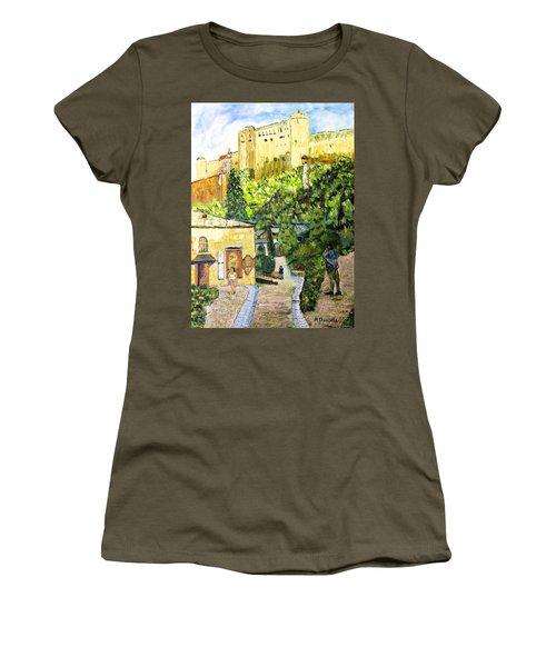 Women's T-Shirt (Junior Cut) featuring the painting Saltzburg by Michael Daniels
