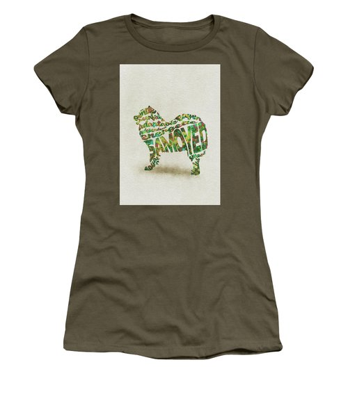 Women's T-Shirt (Athletic Fit) featuring the painting Samoyed Watercolor Painting / Typographic Art by Inspirowl Design