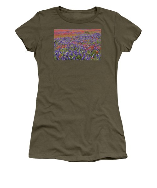 Women's T-Shirt featuring the photograph Sand Bluebonnet And Paintbrush by Tim Fitzharris