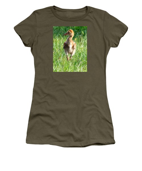 Women's T-Shirt (Junior Cut) featuring the photograph Sandhill Crane Chick 085  by Chris Mercer