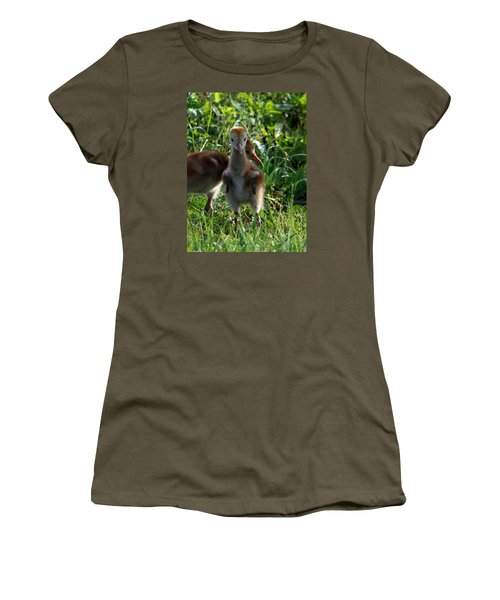 Women's T-Shirt (Junior Cut) featuring the photograph Sandhill Crane Chick 086  by Chris Mercer