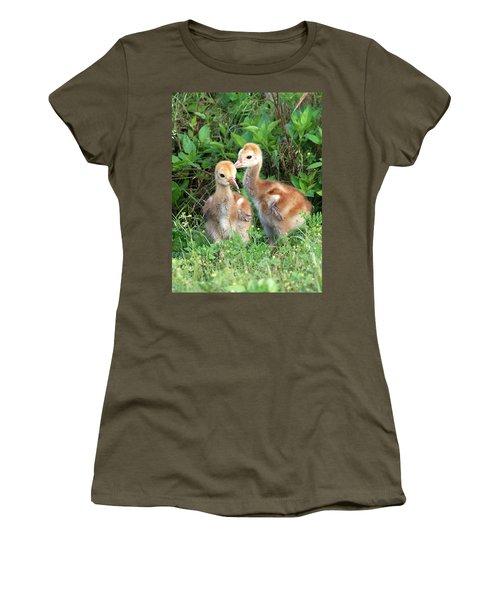 Women's T-Shirt (Junior Cut) featuring the photograph Sandhill Crane Chicks 001 by Chris Mercer
